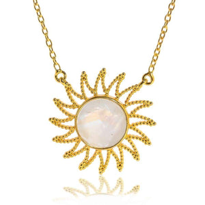 Eclipse Necklace/18K Yellow Gold & Rainbow Moonstone - infinityXinfinity.co.uk