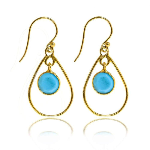 Single Teardrop Hoop Earrings/18K Yellow Gold & Turquoise - infinityXinfinity.co.uk