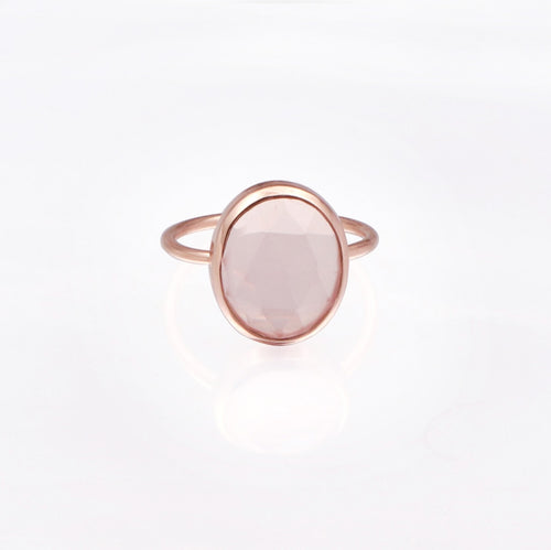 Rose Quartz Statement Ring/18k Rose Gold & Crystal Rose Quartz - infinityXinfinity.co.uk
