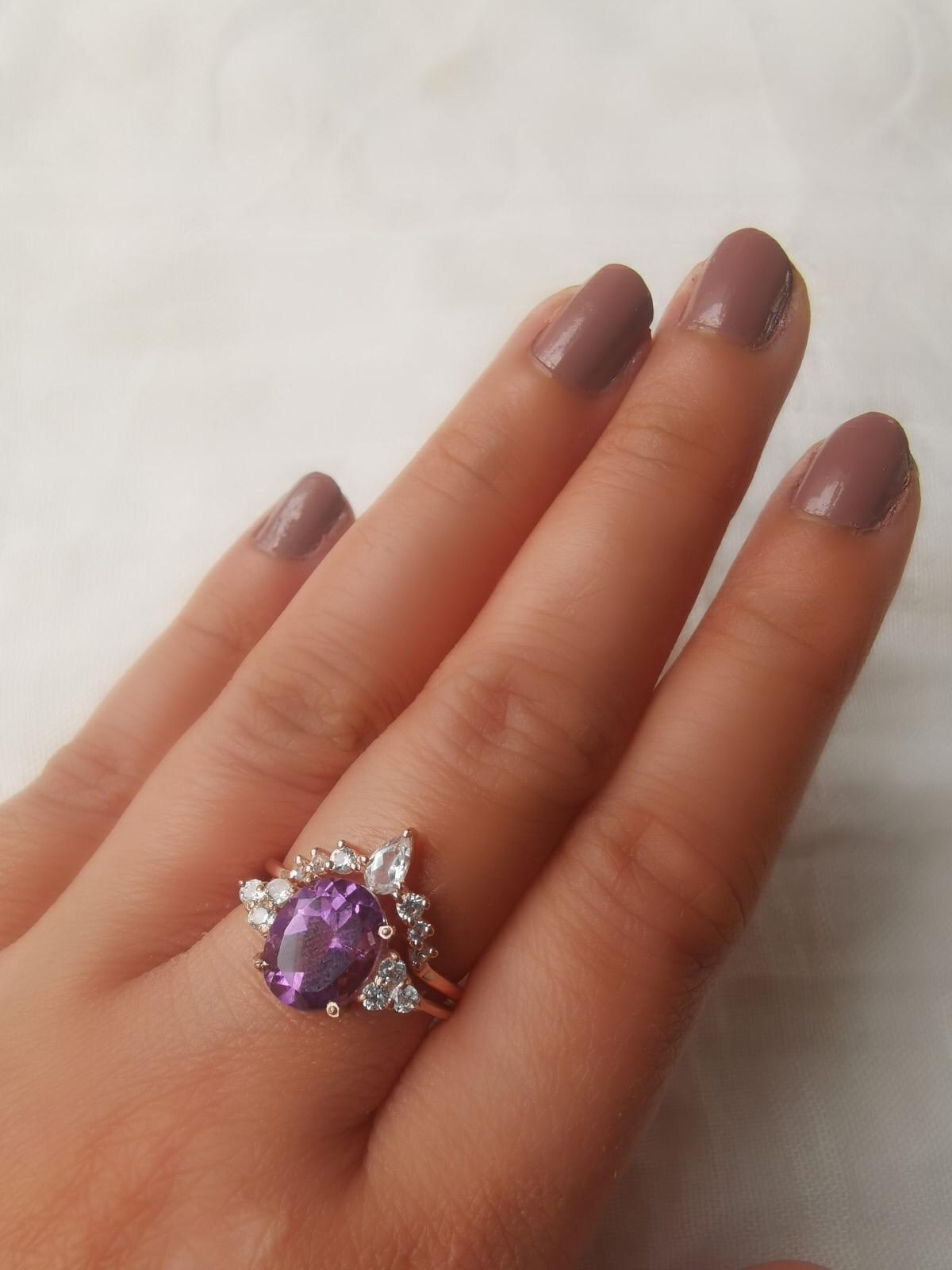 The Princess Ring/18k Rose Gold Vermeil Amethyst & White Topaz - infinityXinfinity.co.uk