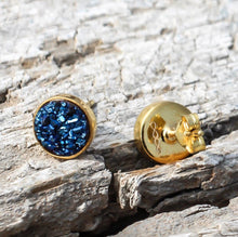 Load image into Gallery viewer, Night Sky Studs/18k Yellow Gold in Blue Titanium Druzy - infinityXinfinity.co.uk
