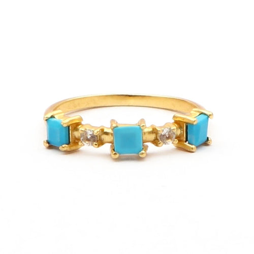 Blue Nile Statement Ring/18K Yellow Gold Turquoise & Topaz Stacker - infinityXinfinity.co.uk