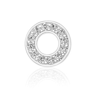 Circle Stud Earrings/18K White Gold & Cubic Zirconia - infinityXinfinity.co.uk