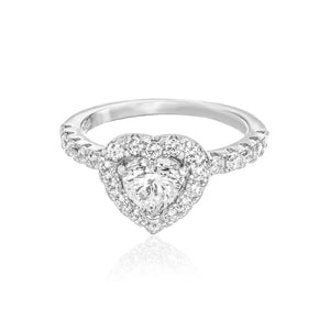 Halo Heart Promise Ring/18K White Gold & Cubic Zirconia - infinityXinfinity.co.uk