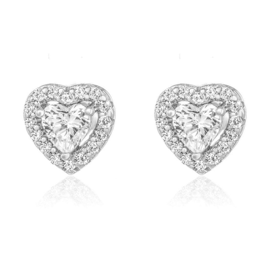 Halo Heart Stud Earrings/18K White Gold & Cubic Zirconia - infinityXinfinity.co.uk