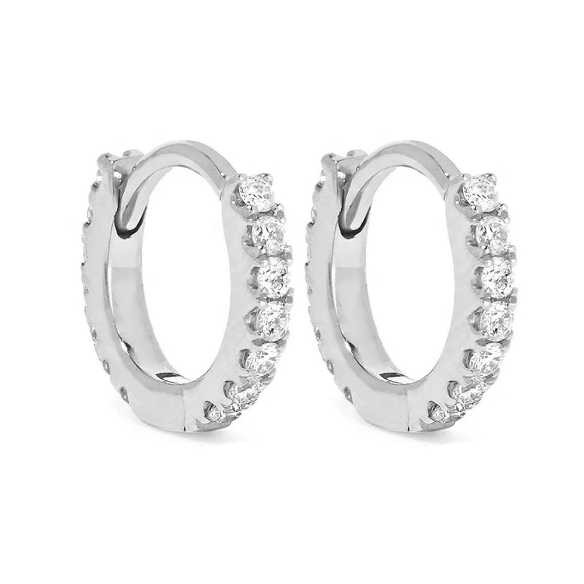 Huggie Earrings/18K White Gold & Premium Cubic Zirconia - infinityXinfinity.co.uk