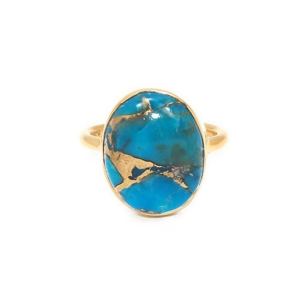 The XL Rustic World Ring/18k Yellow Gold Vermeil in Copper Turquoise - infinityXinfinity.co.uk