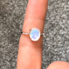 Load image into Gallery viewer, The Enchanted Ring/18k Rose Gold Vermeil with Rainbow Moonstone and White Topaz - infinityXinfinity.co.uk