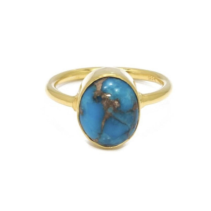 The Rustic World Ring/18k Yellow Gold Vermeil in Copper Turquoise - infinityXinfinity.co.uk