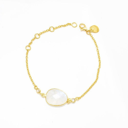 Rose Quartz Bracelet/18k yellow Gold with White Topaz - infinityXinfinity.co.uk