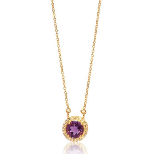 Princess Halo Necklace/18k Yellow Gold with Amethyst & White Topaz - infinityXinfinity.co.uk