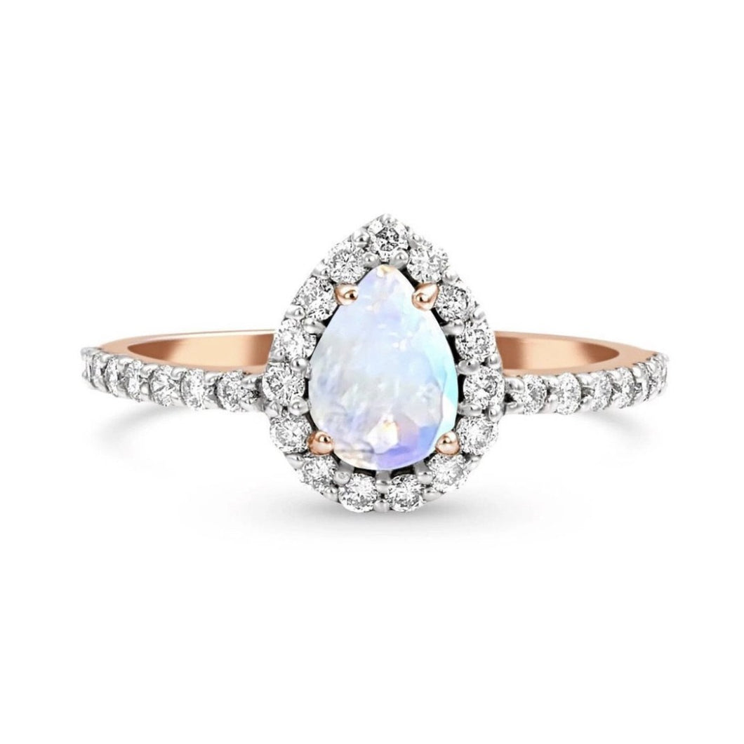 Teardrop Halo Statement Ring/18k Rose Gold with & Rainbow Moonstone & White Topaz - infinityXinfinity.co.uk