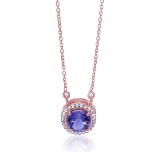 Princess Halo Necklace/18k Rose Gold with Amethyst & White Topaz - infinityXinfinity.co.uk