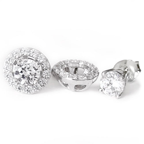 2-In-1 Halo Stud Earrings/18k White Gold & Premium Cubic Zirconia - infinityXinfinity.co.uk