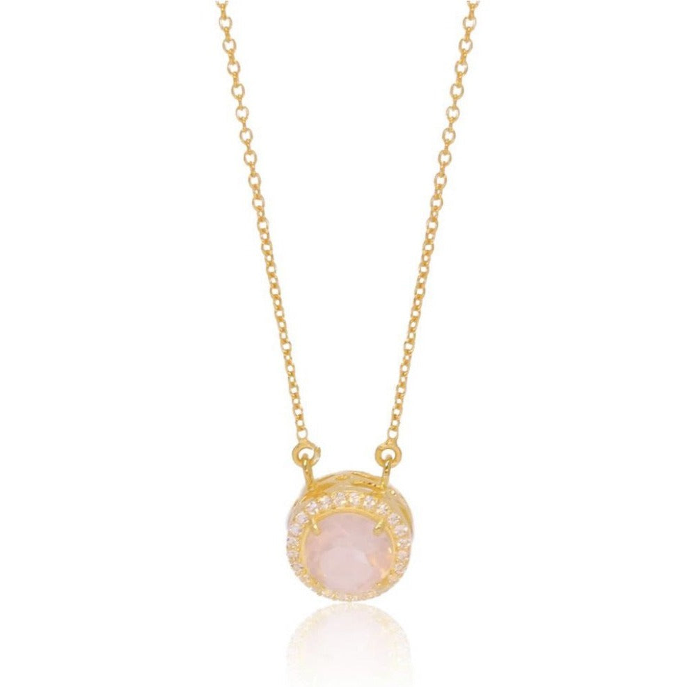 Princess Halo Necklace/18k Yellow Gold with Rose Quartz & White Topaz - infinityXinfinity.co.uk