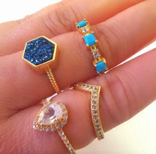 Load image into Gallery viewer, Blue Nile Statement Ring/18K Yellow Gold Turquoise & Topaz Stacker - infinityXinfinity.co.uk