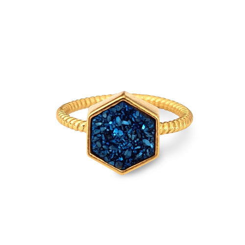 Night Sky Hexagon Statement Ring/18K Yellow Gold & Blue Titanium Druzy - infinityXinfinity.co.uk