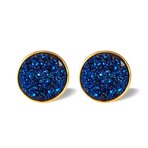 Night Sky Studs/18k Yellow Gold in Blue Titanium Druzy - infinityXinfinity.co.uk