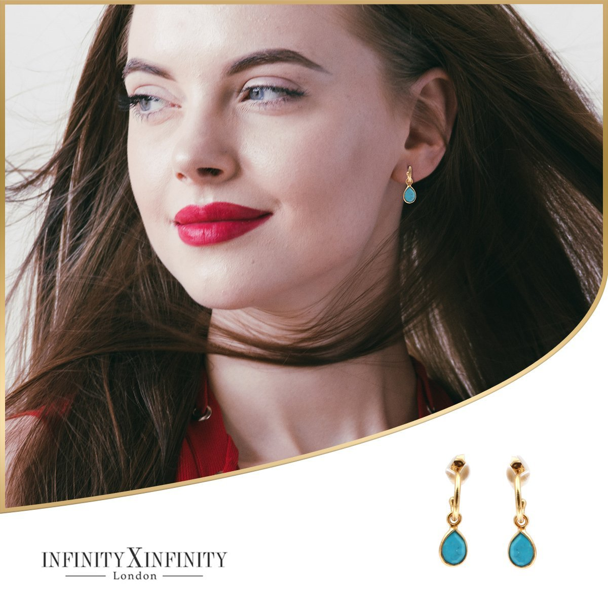 Petite Teardrop Earrings/18K Yellow Gold & Turquoise - infinityXinfinity.co.uk