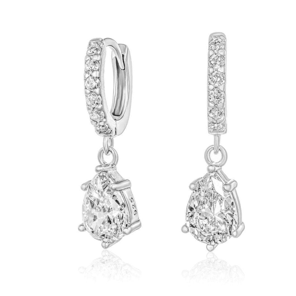 Huggie Snowdrop Earrings/18K White Gold & Premium Cubic Zirconia - infinityXinfinity.co.uk