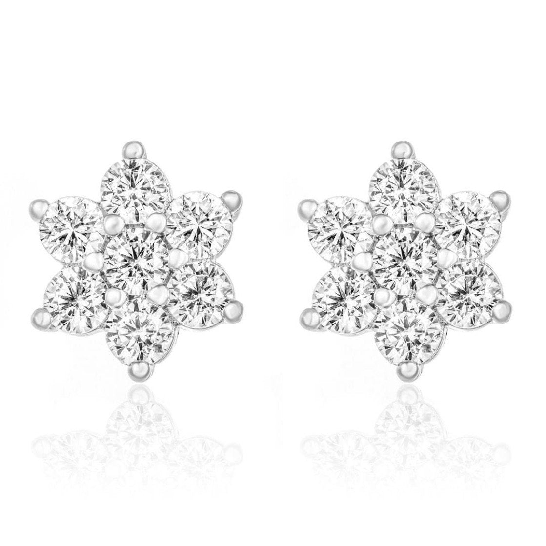 Snowflake Stud Earrings/18K White Gold & Cubic Zirconia - infinityXinfinity.co.uk