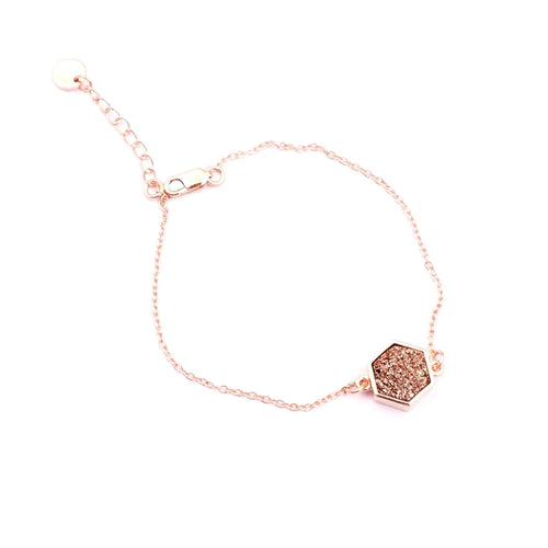Sunset Sparkles Hexagon Bracelet/18k Rose Gold & Rose Titanium Druzy - infinityXinfinity.co.uk