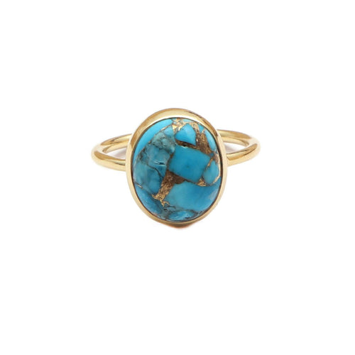The World Ring/18k Yellow Gold Vermeil in Copper Turquoise - infinityXinfinity.co.uk