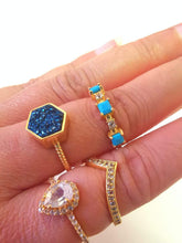 Load image into Gallery viewer, Night Sky Hexagon Statement Ring/18K Yellow Gold & Blue Titanium Druzy - infinityXinfinity.co.uk
