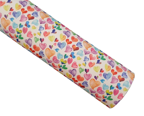 Watercolour Hearts - Litchi Faux Leather