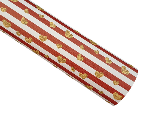Red Stripes (Glitter Gold Hearts) - Litchi Faux Leather
