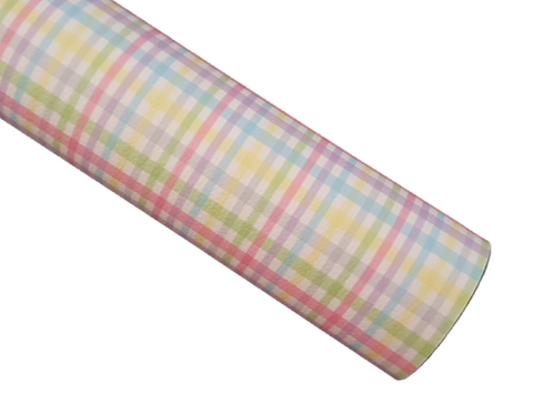 Pastel Plaid - Litchi Faux Leather