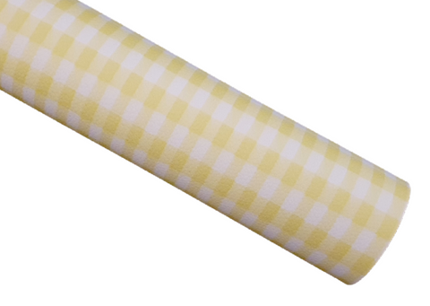 Yellow Plaid - Litchi Faux Leather
