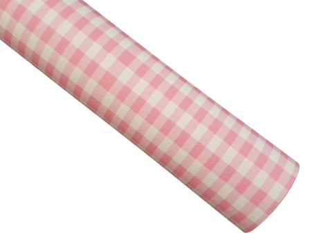 Pink Plaid - Litchi Faux Leather