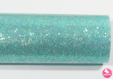Aqua - Smooth Glitter Leatherette (with a colour matching backing)