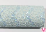 Baby Blue - Lace Glitter Leatherette