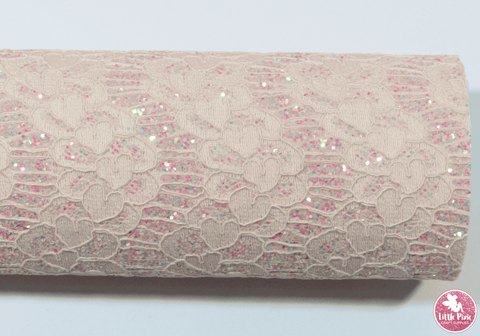 Baby Pink - Lace Glitter Leatherette