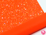 Bejewelled Fluoro Orange - Chunky Glitter Leatherette (with a colour matching backing)