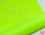 Bejewelled Fluoro Yellow - Chunky Glitter Leatherette (with a colour matching backing)