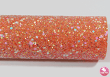 Bejewelled Orange Crush - Chunky Glitter Leatherette (with a colour matching backing)