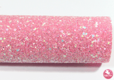 Bejewelled Pink Lemonade - Chunky Glitter Leatherette (with a colour matching backing)