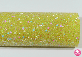 Bejewelled Yellow - Chunky Glitter Leatherette.