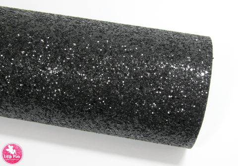Black - Chunky Glitter Leatherette.  Choose from a full sheet (larger than A4) or half sheet (larger than A5).  Perfect for all your craft projects, including Hair Bows, Headbands, Earrings, Jewellery accessories, Notebook covers, Make-up Bags, Purses & Pencil Cases and many more! Our printed and plain Faux Leathers can be easily cut by hand with scissors, cutting dies or machines such as Sizzix Big Shot.