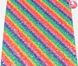 Bright Rainbow Stripes - Glitter Lace Leatherette