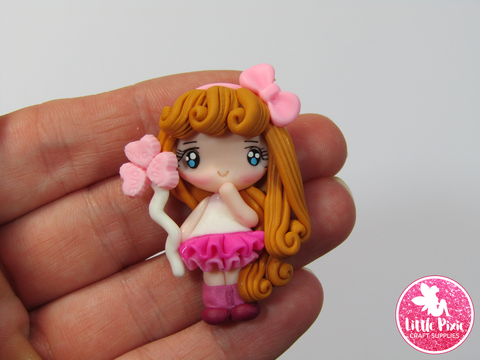 Candy Heart Girl Clay Embellishment