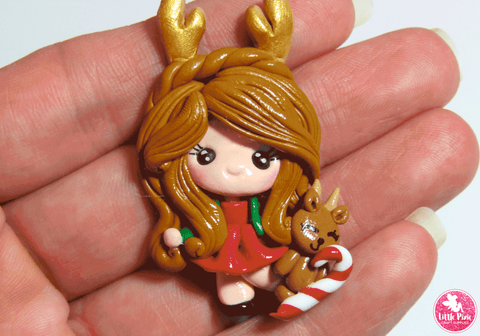 Christmas Sweetie Girl - Clay Embellishment