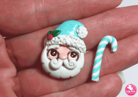 Christmas Pair - Santa & Candy Cane Mint - Clay Embellishment