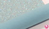 Dazzling Elsa Blue - Chunky Glitter Leatherette (with a colour matching backing) Full Sheet - (measures 20 x 34cm) larger than standard A4 size Half Sheet -  (measures 20 x 17cm) larger than standard A5 size