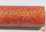 Dazzling Tangerine - Chunky Glitter Leatherette (with a colour matching backing)