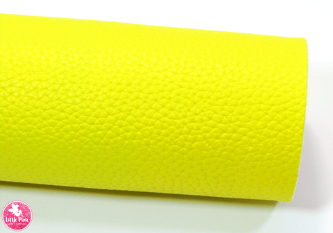 Emma Wiggles Yellow – Litchi Print Leatherette.  Choose from a full sheet (larger than A4) or half sheet (larger than A5).  Perfect for all your craft projects, including Hair Bows, Headbands, Earrings, Jewellery accessories, Notebook covers, Make-up Bags, Purses & Pencil Cases and many more! Our printed and plain Faux Leathers can be easily cut by hand with scissors, cutting dies or machines such as Sizzix Big Shot.