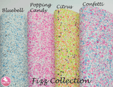 Fizz - Chunky Glitter Leatherette Full Sheet - (measures 20 x 34cm) larger than standard A4 size Half Sheet -  (measures 20 x 17cm) larger than standard A5 size